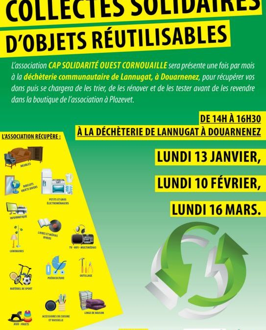 Collectes d'objets réutilisables le 13 janvier, le 10 février et le 16 mars, de 14h à 16h30, à la déchèterie de Lannugat à Douarnenez
